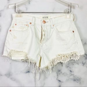 Free People Daisy Chain Lace Cutoff Shorts